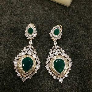 Jewelry - American Diamond and green quartz earrings
